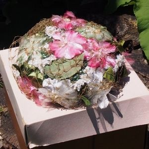 VTG United Hatters Union Floral Raffia Flower Hat